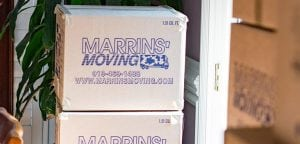 A stack of Marrin's Moving boxes