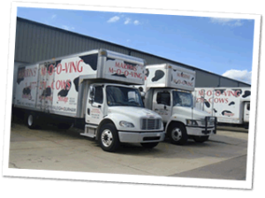 Marrins' Moving trucks preparing for an Apex NC delivery