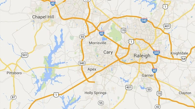 Map of Marrin's Moving servce areas in Apex, Cary, Chapel Hill, Durham, Morrisville, Wake Forest, and Raleigh