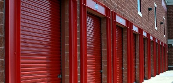 storage units with red doors