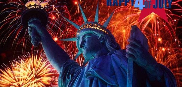 statue of liberty graphic in front of fireworks