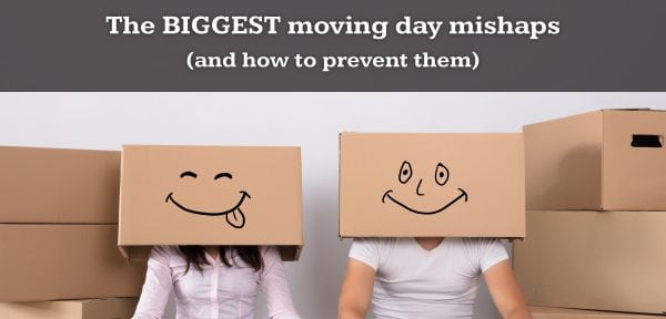 A man and a woman wearing cardboard boxes with a happy faces with moving boxes surrounding them